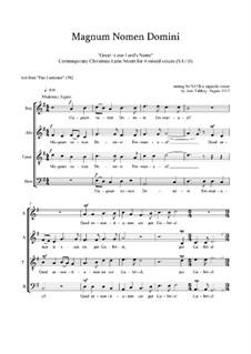 Magnum Nomen Domini: Christmas motet: SATB by Joan Yakkey