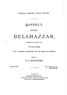 Belshazzar, HWV 61: Partitura Piano-vocal by Georg Friedrich Händel