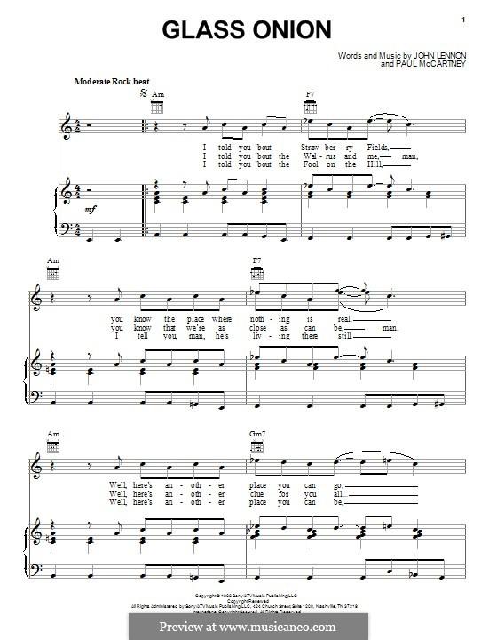 Glass Onion (The Beatles): Para vocais e piano (ou Guitarra) by John Lennon, Paul McCartney