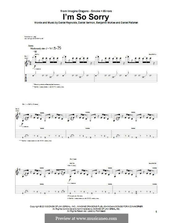 I'm So Sorry (Imagine Dragons): Para guitarra com guia by Benjamin McKee, Daniel Reynolds, Daniel Sermon, Daniel Platzman