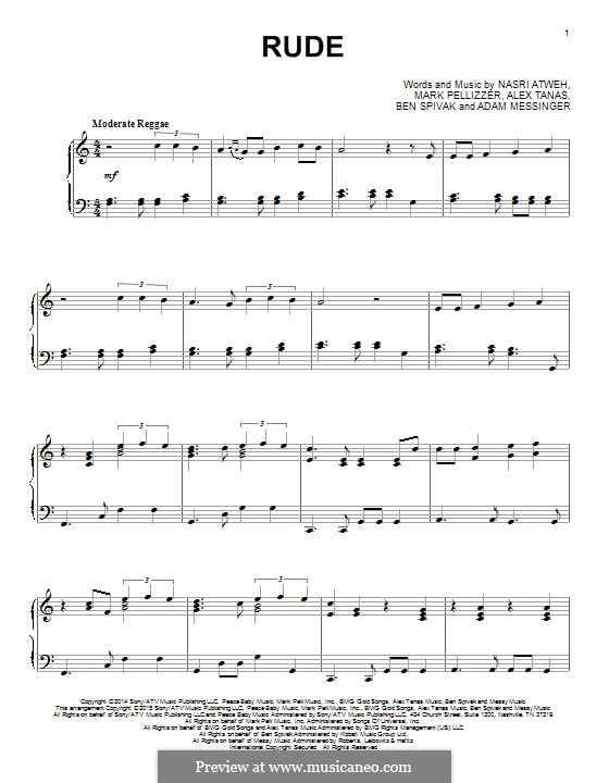 Rude (MAGIC!): Para Piano by Adam Messinger, Nasri Atweh, Mark Pellizzer, Alex Tanas, Ben Spivak