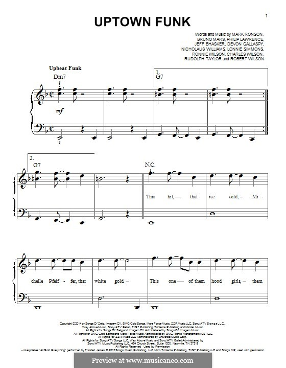 Uptown Funk (Mark Ronson ft. Bruno Mars): Facil para o piano by Jeff Bhasker, Bruno Mars, Philip Lawrence, Devon Gallaspy, Nicholaus Williams