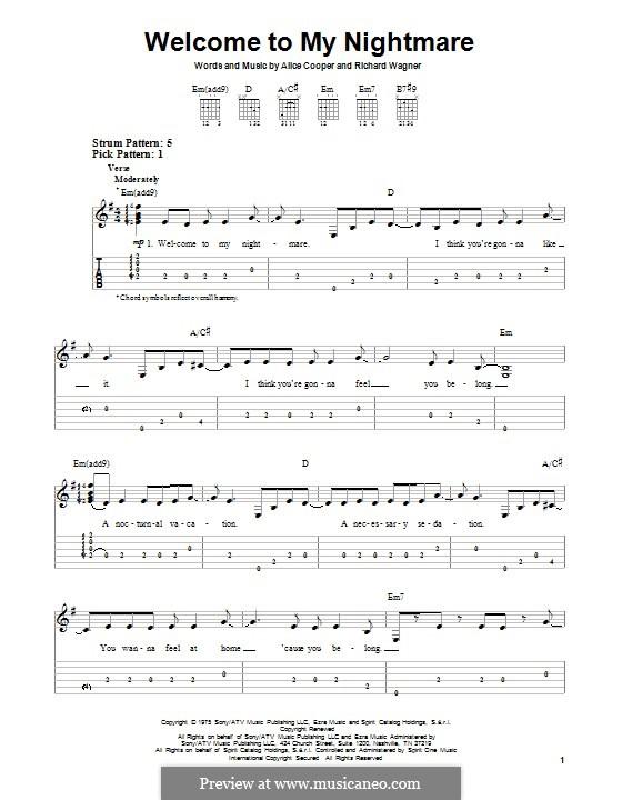 Welcome to My Nightmare: Para vocais e piano (ou Guitarra) by Richard Wagner