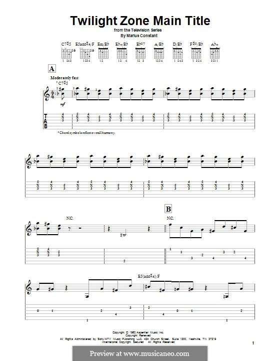 Twilight Zone Main Title: Para vocais e piano (ou Guitarra) by Marius Constant