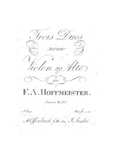 Six Duets for Violin and Viola, Op.65: No.1-3 – parts by Franz Anton Hoffmeister