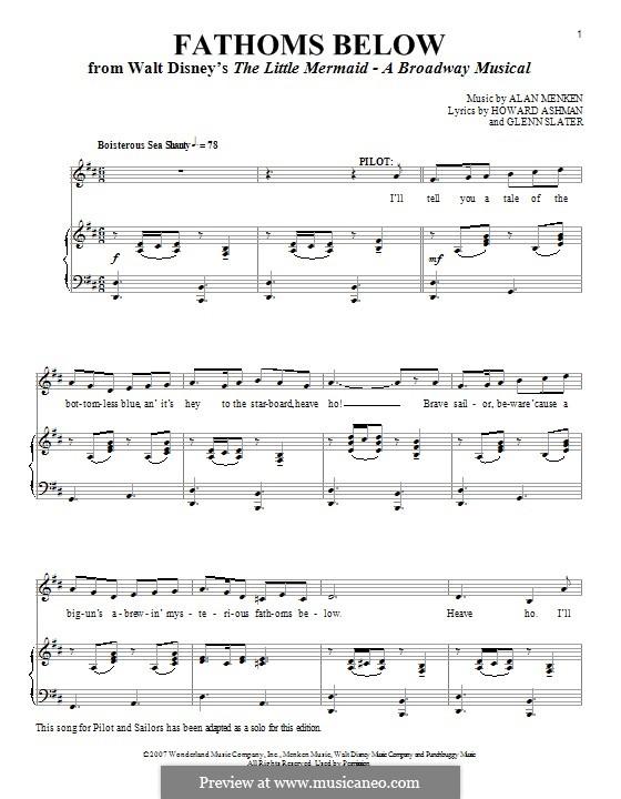 Fathoms Below (Stage Show): Para vocais e piano by Alan Menken