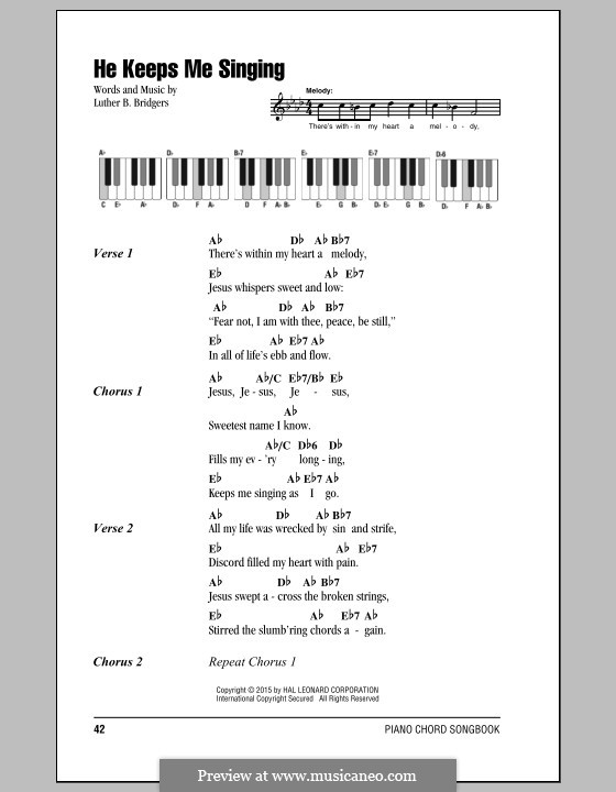 He Keeps Me Singing: Letras e Acordes by Luther B. Bridgers