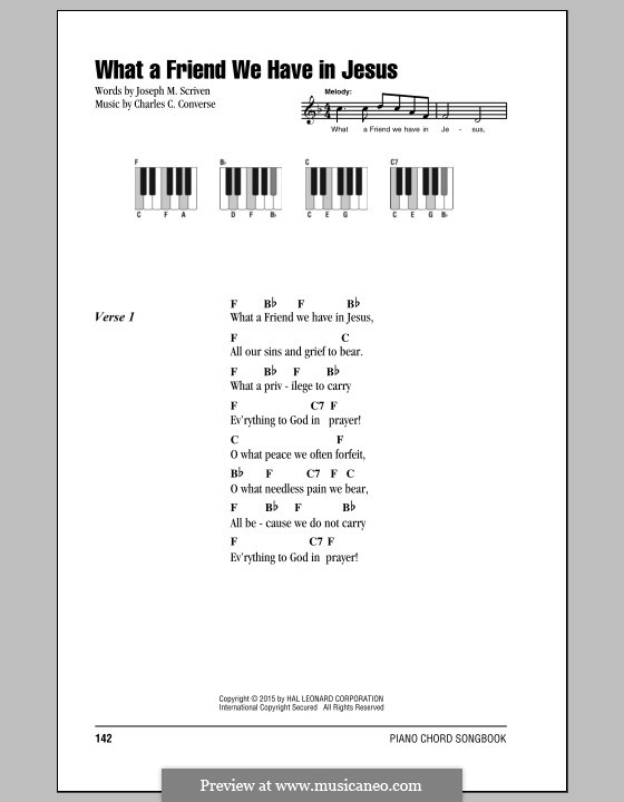 What a Friend We Have in Jesus (Printable): Letras e Acordes by Charles Crozat Converse