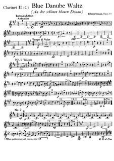 On the Beautiful Blue Danube, Op.314: Clarinet II in C part by Johann Strauss (Sohn)