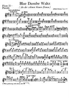 On the Beautiful Blue Danube, Op.314: parte flauta piccolo by Johann Strauss (Sohn)