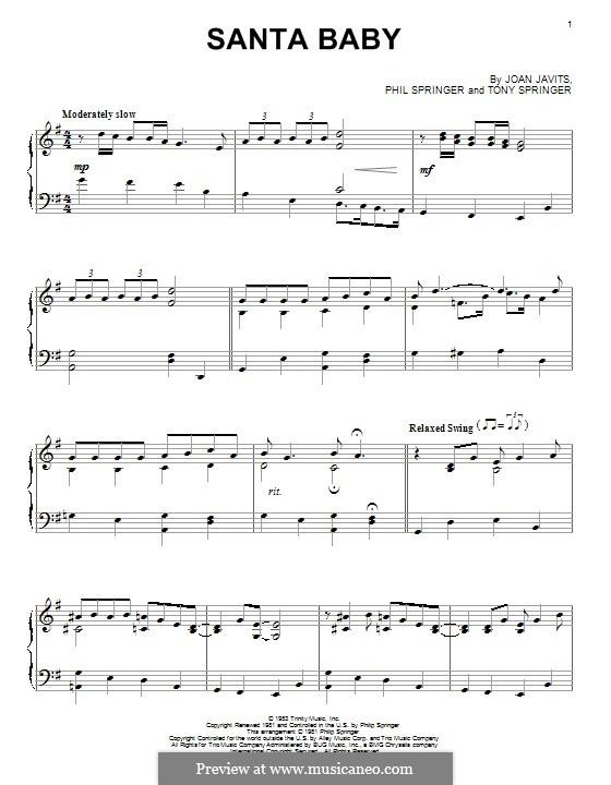 Santa Baby (Eartha Kitt): Para Piano by Joan Javits, Philip Springer, Tony Springer