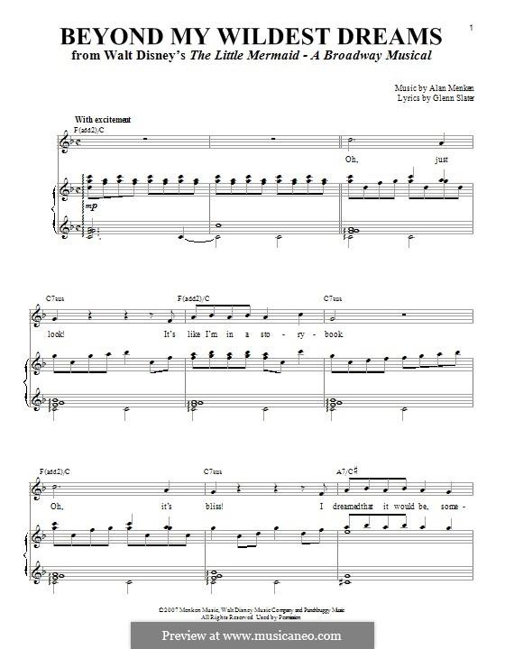 Beyond My Wildest Dreams: Para vocais e piano by Alan Menken