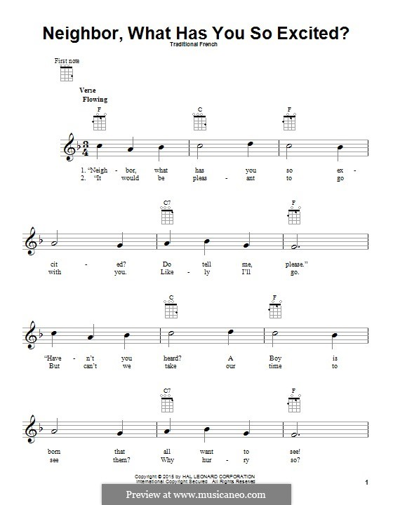 Neighbor, What Has You So Excited?: para ukulele by folklore