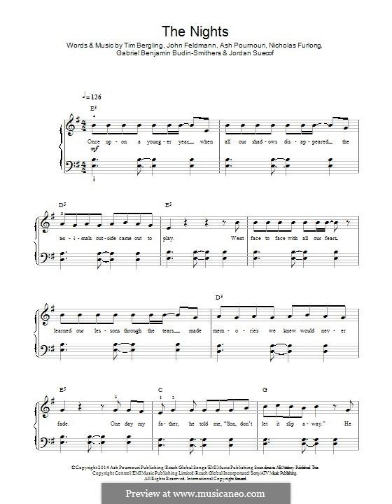 The Nights: Para Piano by John Feldmann, Jordan Suecof, Avicii, Arash Andreas Pournouri, Nicholas Furlong, Gabriel Benjamin Budin-Smithers