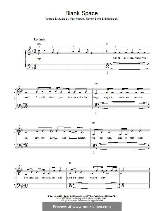 Blank Space: Para Piano by Shellback, Max Martin, Taylor Swift