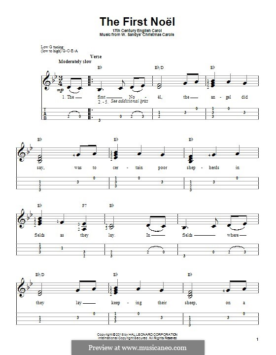 The First Nowell (The First Noël), Printable scores: para ukulele by folklore