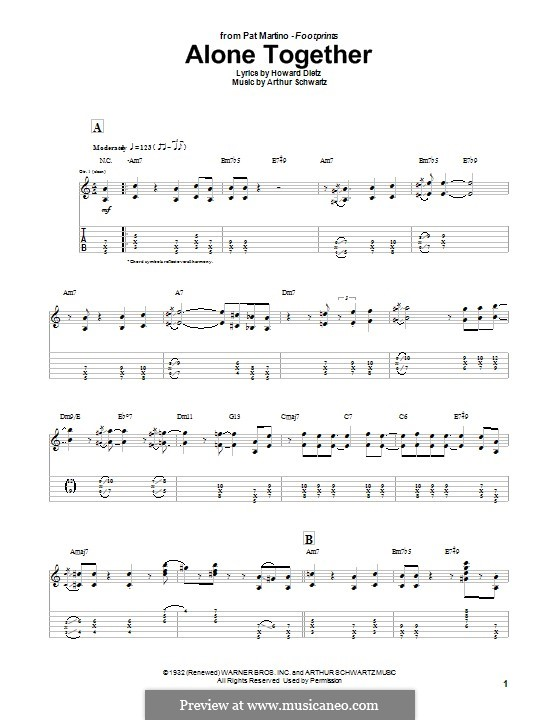 Alone Together (Peggy Lee): Para guitarra com guia by Arthur Schwartz