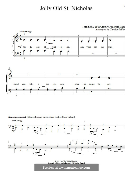 Jolly Old St. Nicholas: Para Piano by folklore