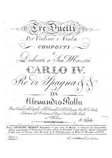 Three Duos for Violin and Viola, BI 59, 48, 82 Op.10: Tres duos pra violino e viola by Alessandro Rolla