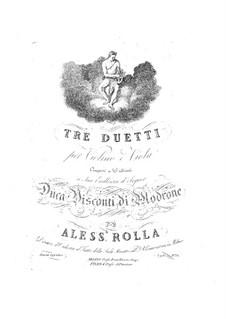 Three Duos for Violin and Viola, BI 54, 34, 93 Op.15: Tres duos pra violino e viola by Alessandro Rolla