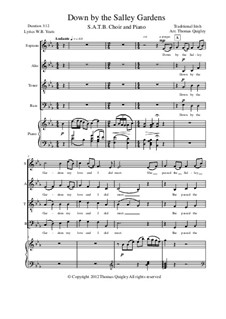 Down By the Sally Gardens: SATB and piano by folklore