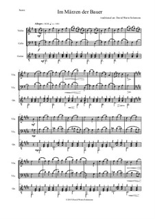 Five German Folk Songs: Im Märzen der Bauer, for violin, cello and guitar by folklore