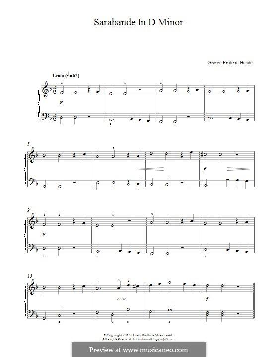 Suite No.4 in D Minor, HWV 437: Sarabande, para piano by Georg Friedrich Händel