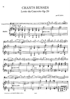 Russian Concert, Op.29: Movement II, for cello and piano – score and solo part by Édouard Lalo