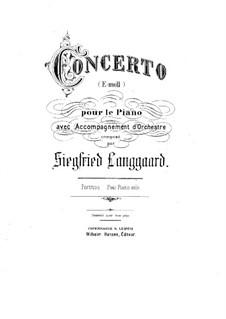 Piano Concerto in E Minor: Versão para dois pianos de quatro mãos by Siegfried Langgaard