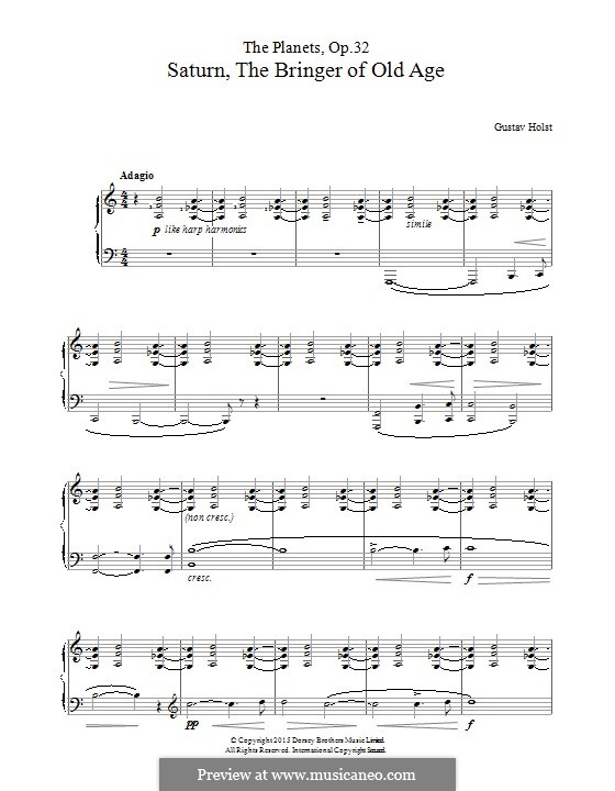 Saturn, the Bringer of Old Age: Para Piano by Gustav Holst