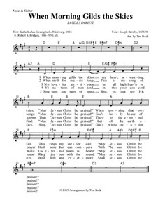 When Morning Gilds the Skies: Guitar lead sheet by Joseph Barnby