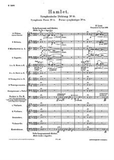Symphonic Poem No.10 'Hamlet' for Orchestra, S.104: Partitura completa by Franz Liszt