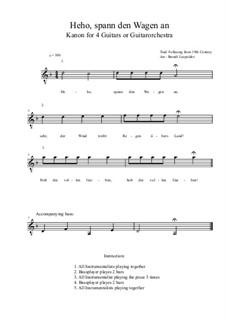Heho, spann den Wagen an: For four guitars or guitarorchestra (d minor) by folklore