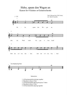Heho, spann den Wagen an: For four guitars or guitarorchestra (a minor) by folklore