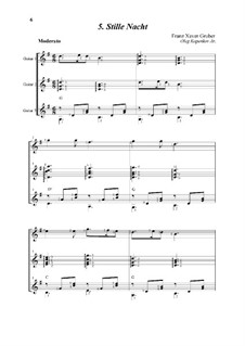 Silent Night (Downloadable): For trio guitars by Franz Xaver Gruber