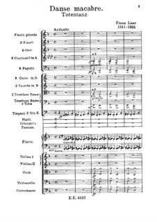 Dance of Death for Orchestra, S.126: Partitura completa by Franz Liszt