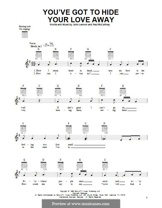 You've Got to Hide Your Love Away (The Beatles): Para guitarra com guia by John Lennon, Paul McCartney
