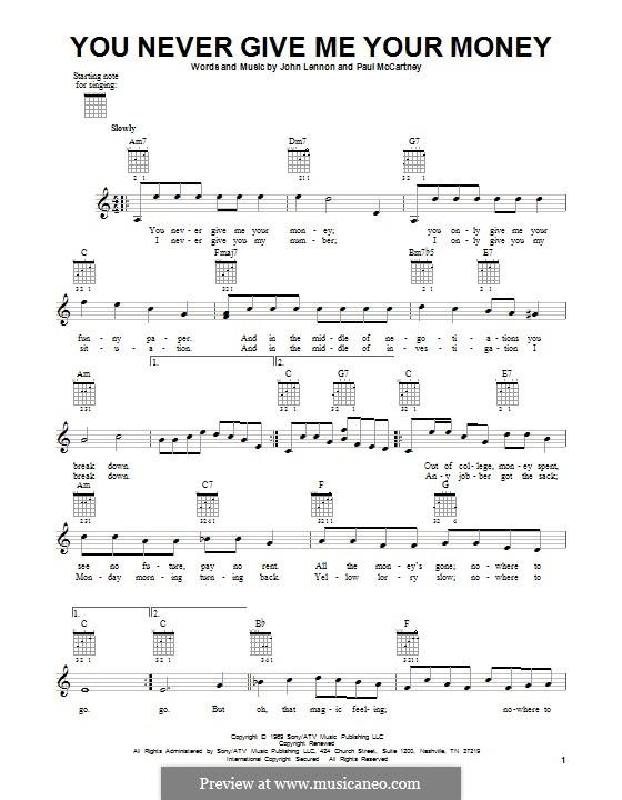 You Never Give Me Your Money (The Beatles): Para guitarra com guia by John Lennon, Paul McCartney