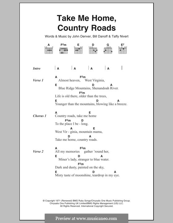 Take Me Home, Country Roads: Letras e Acordes by Bill Danoff, John Denver, Taffy Nivert