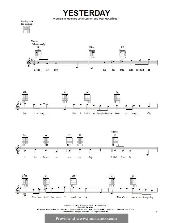 Yesterday (The Beatles): Para guitarra com guia by John Lennon, Paul McCartney