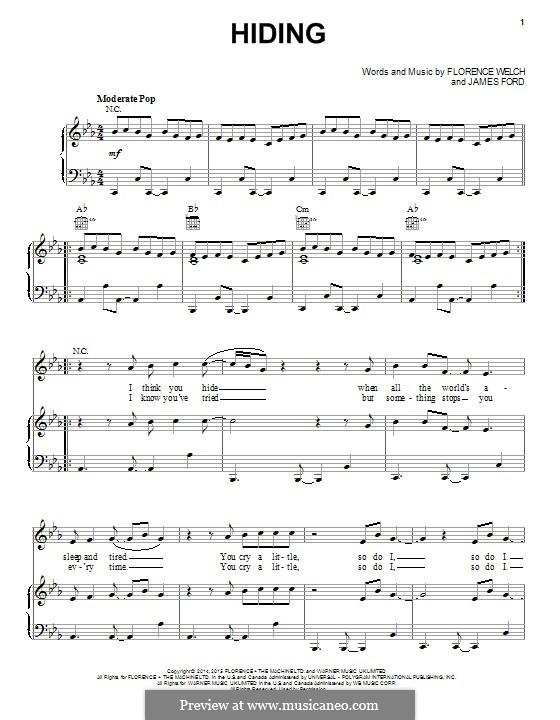 Hiding (Florence and The Machine): Para vocais e piano (ou Guitarra) by James S. Ford, Florence Welch