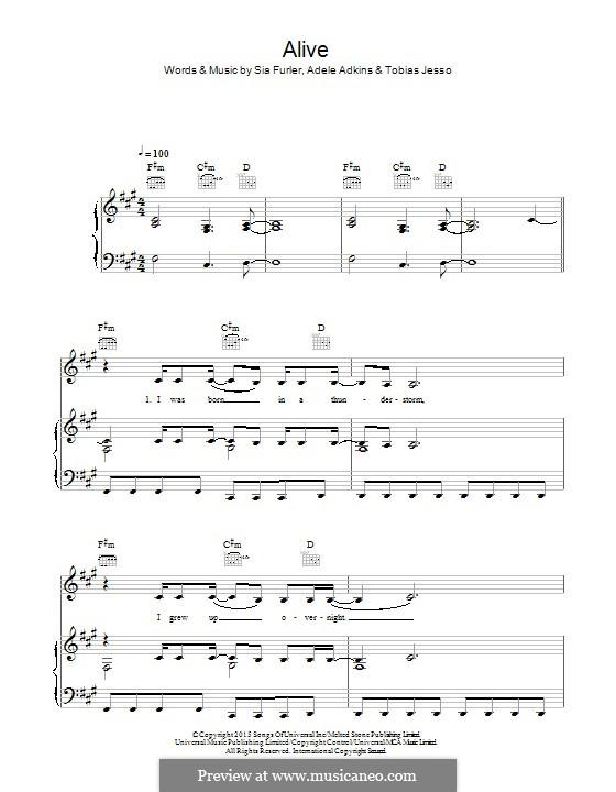 Alive: Para vocais e piano (ou Guitarra) by Adele, Sia Furler, Tobias Jesso