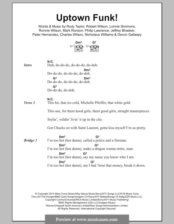 Uptown Funk (Mark Ronson ft. Bruno Mars): Letras e Acordes by Jeff Bhasker, Bruno Mars, Philip Lawrence, Devon Gallaspy, Nicholaus Williams