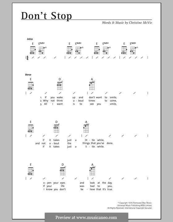 Don't Stop (Fleetwood Mac): para ukulele by Christine McVie