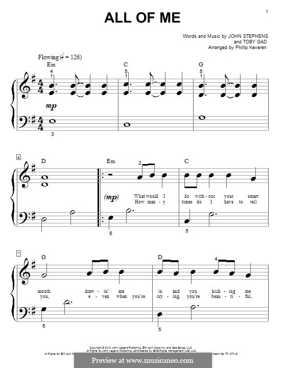 All of Me: Para Piano by John Stephens, Tobias Gad