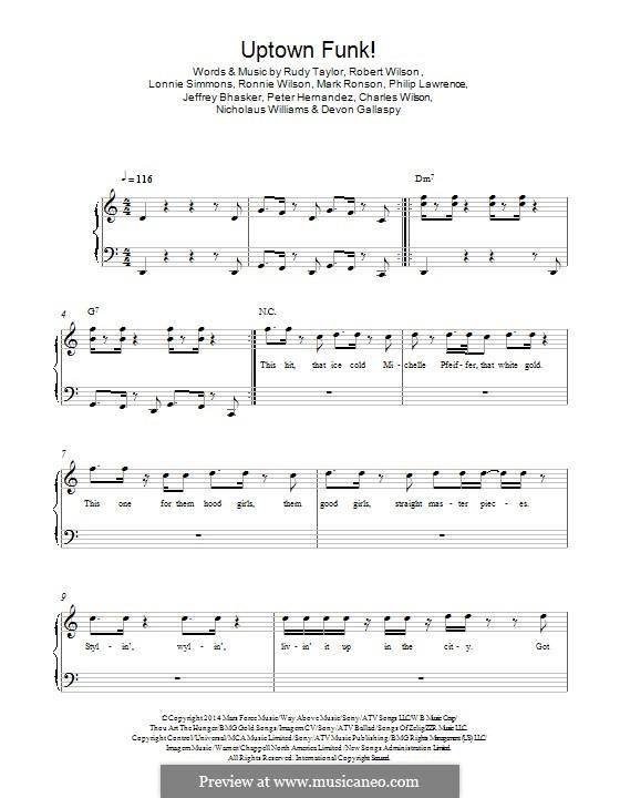 Uptown Funk (Mark Ronson ft. Bruno Mars): Para Piano by Jeff Bhasker, Bruno Mars, Philip Lawrence, Devon Gallaspy, Nicholaus Williams