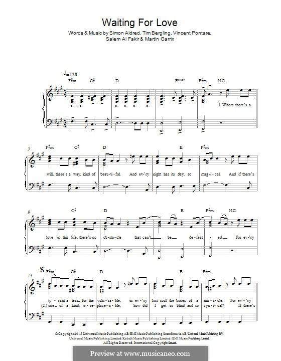 Waiting for Love: Para Piano by Simon Aldred, Avicii, Vincent Pontare, Salem Al Fakir, Martin Garrix
