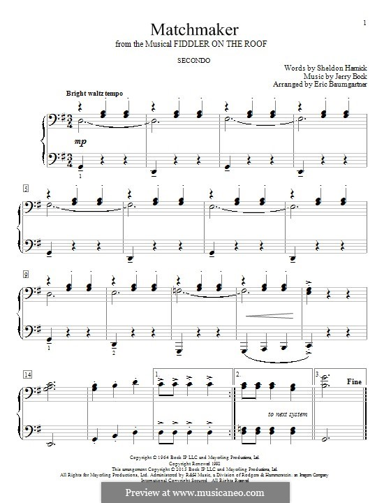 Matchmaker (from The Fiddler on the Roof): Para Piano by Jerry Bock