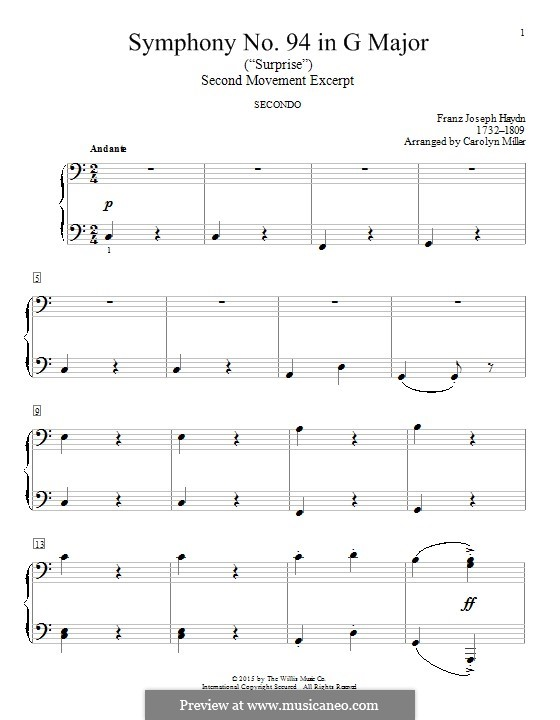 Movement II: Excerpt, for piano four hands by Joseph Haydn