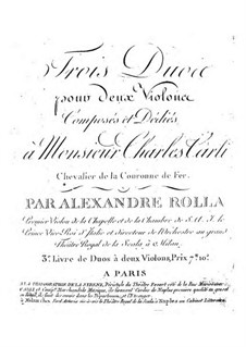 Three Duos for Two Violins, BI 159, 195, 188: Três duetos para dois violinos by Alessandro Rolla
